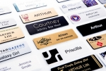 Other examples of printed & engraved name badge options available. Image 9
